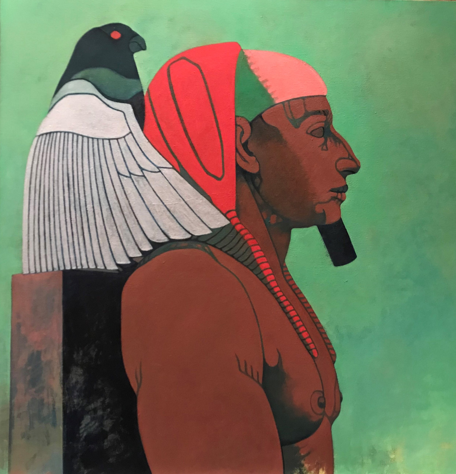 Khafra and Horus (The Falcon God) Oil on Canvas 48 x 48 in.