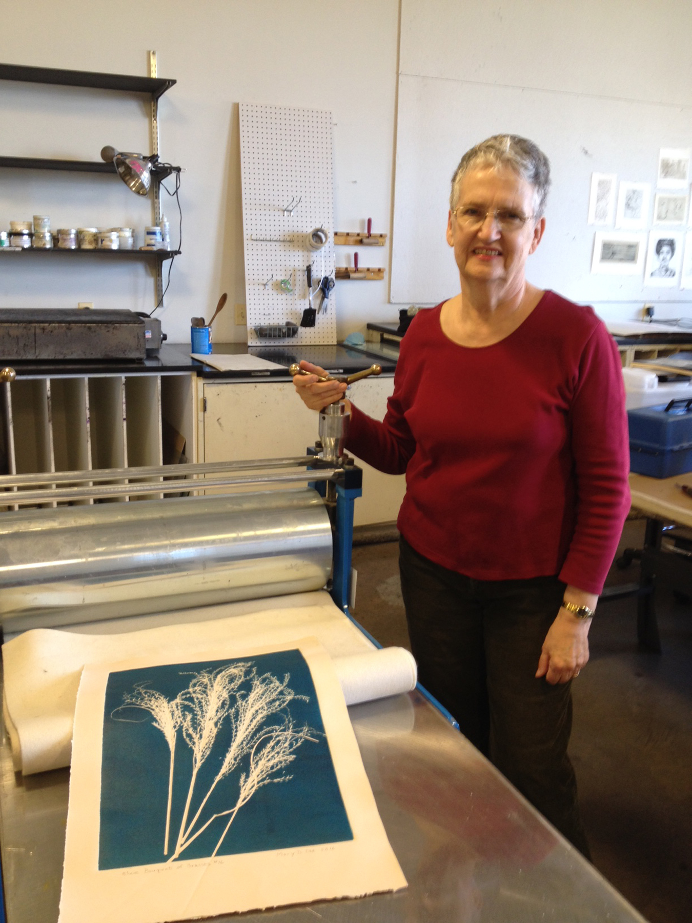 Mary Ott working in the Montgomery College Print Studio, Silver Spring MD