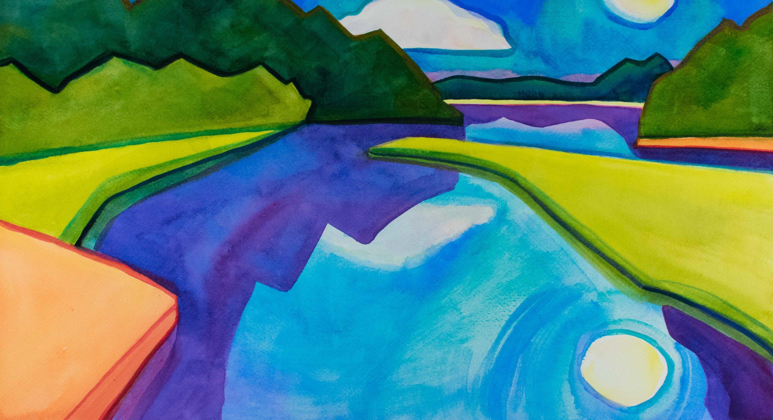 Fresh Pond III  captures a summer evening.