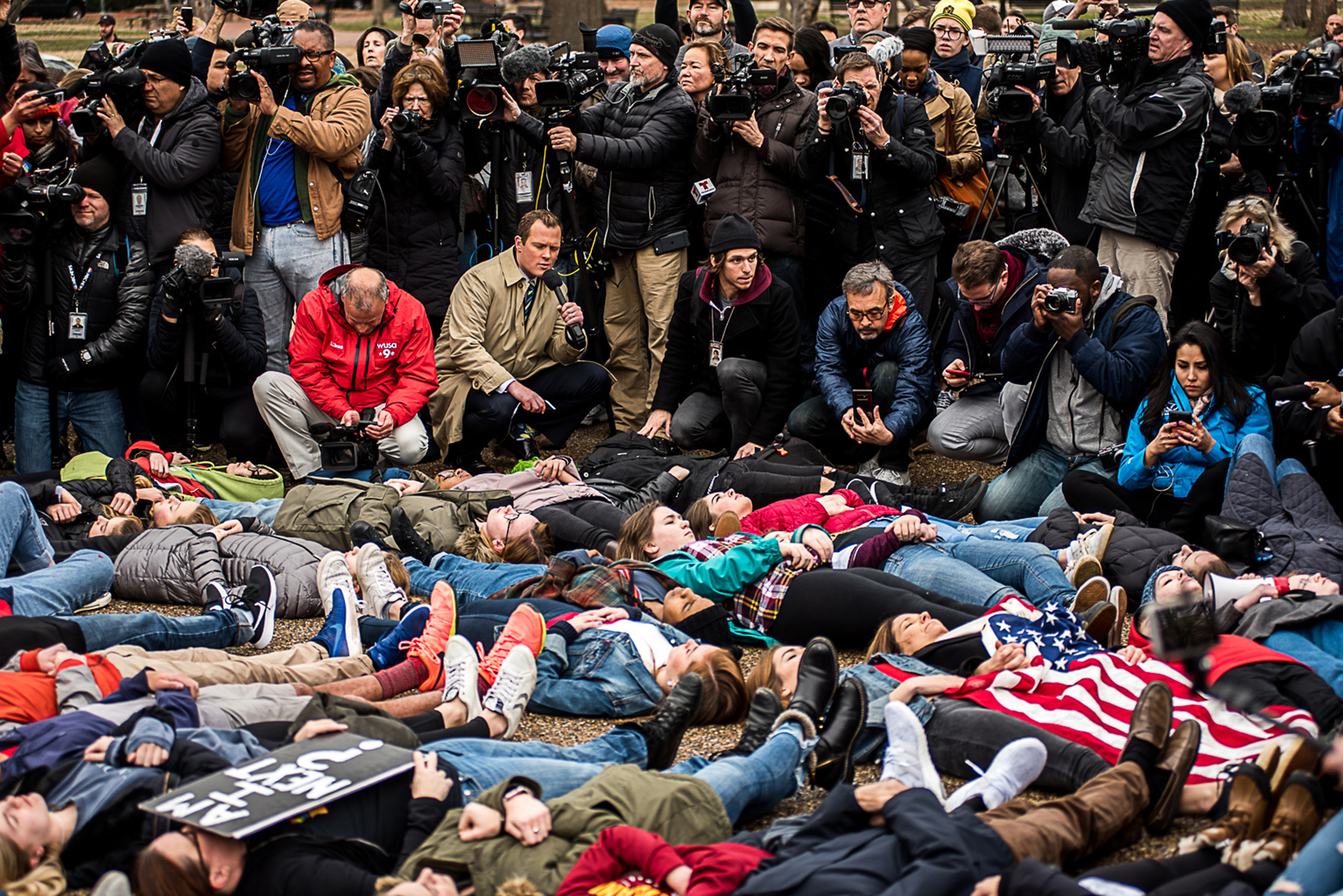 Press and Protest by Michael Landsman, Gun reform protest outside the White House on February 19, 2018