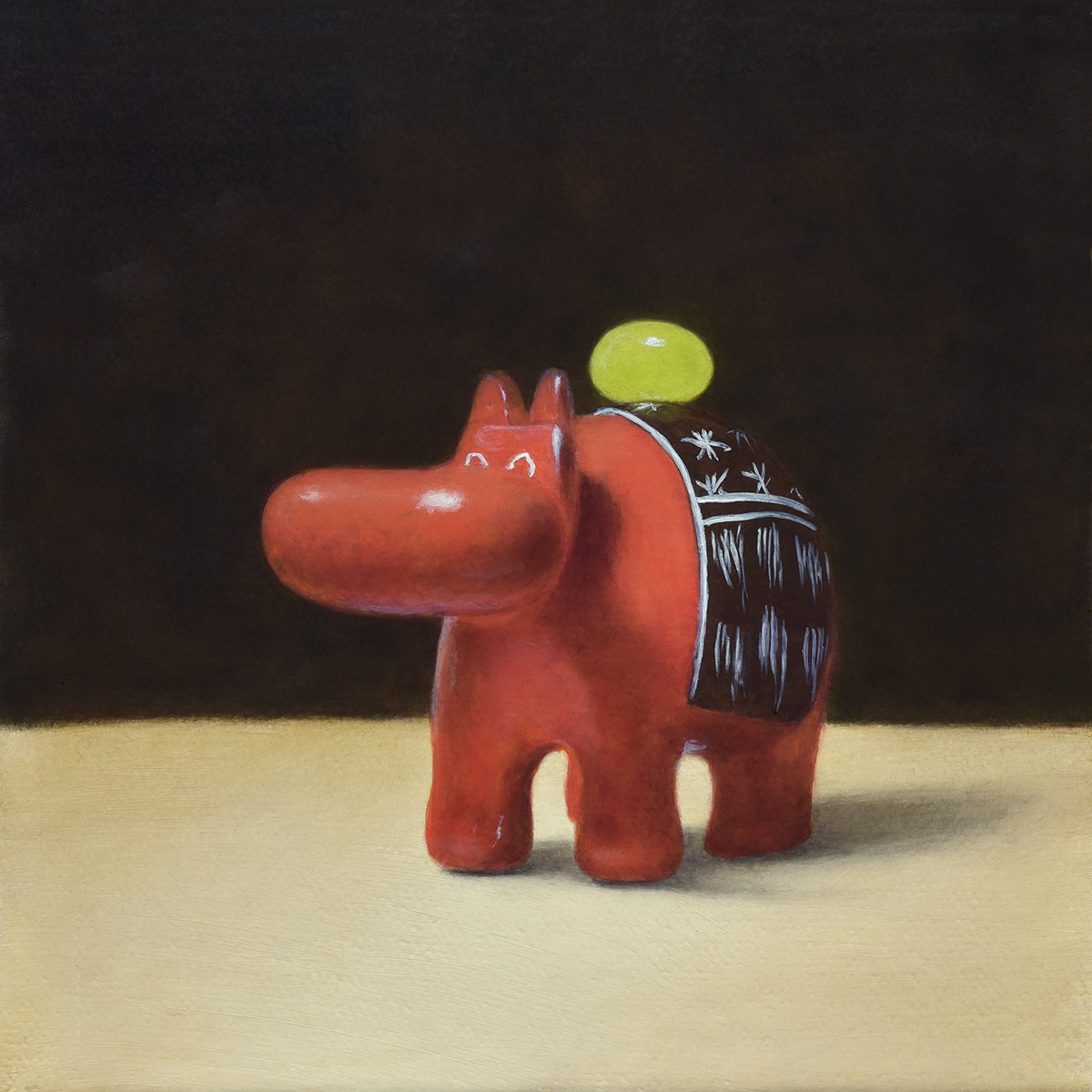"""Red Hippopotamus and Limegreen Jellybean"""
