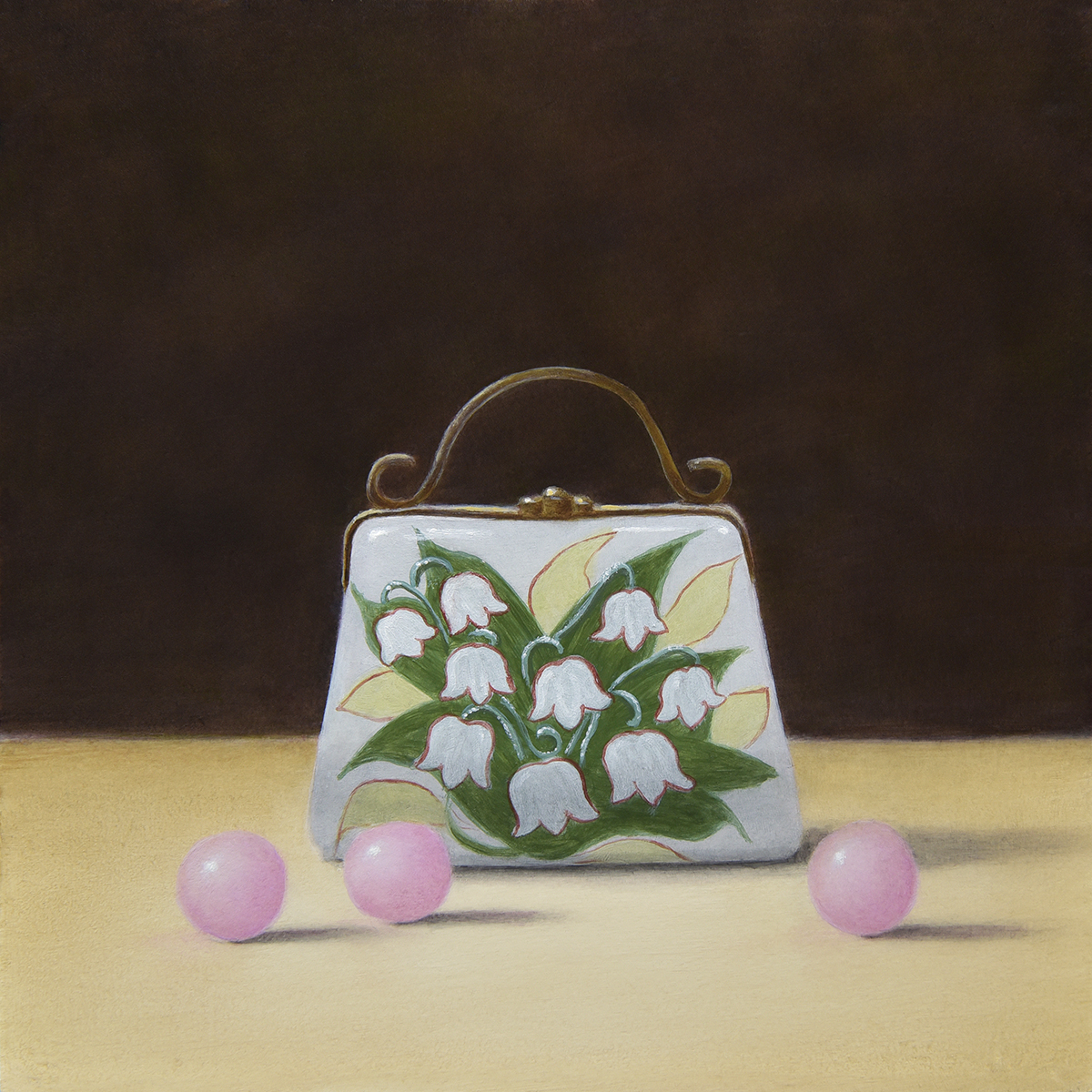 """""""Lily of the Valley Purse Porcelain Pillbox and Pink Chocolate Balls"""""""