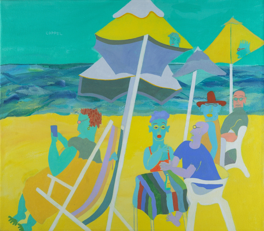 "Under the Umbrellas, Acrylic on Canvas, 28"" x 32"""
