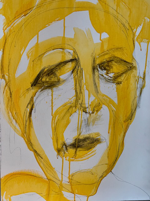 Self-Portrait in Yellow , Acrylic