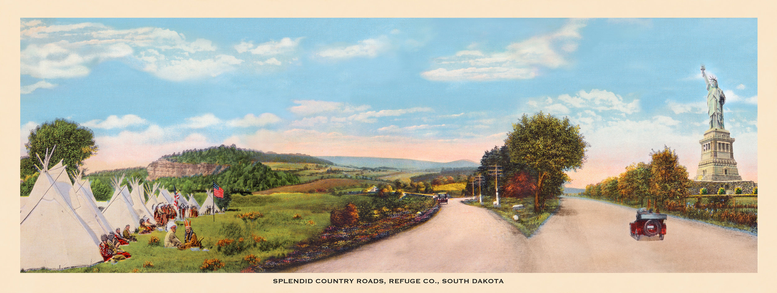 Judith G. Levy,  Splendid County Roads, Refuge Co., South Dakota , Archival Digital Collage, Edition 4 of 10