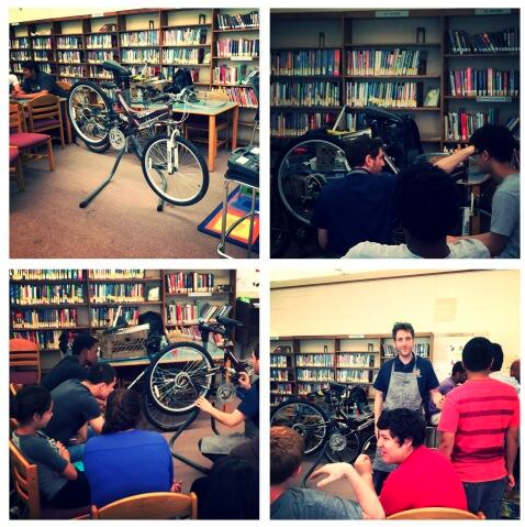 A highlight of the makerspace this school year was the visit from  Ron Grosinger  – an expert maker who came into school to run a bicycle repair work  shop for our students.   Our library was completely packed out with students and their bikes for the event.