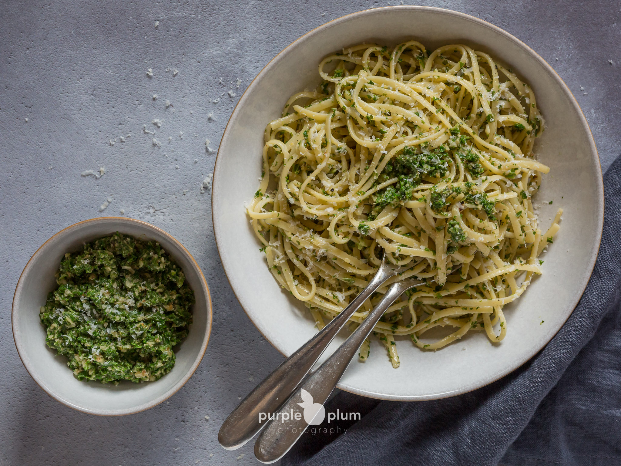 Linguine with Kale & Walnut Pesto