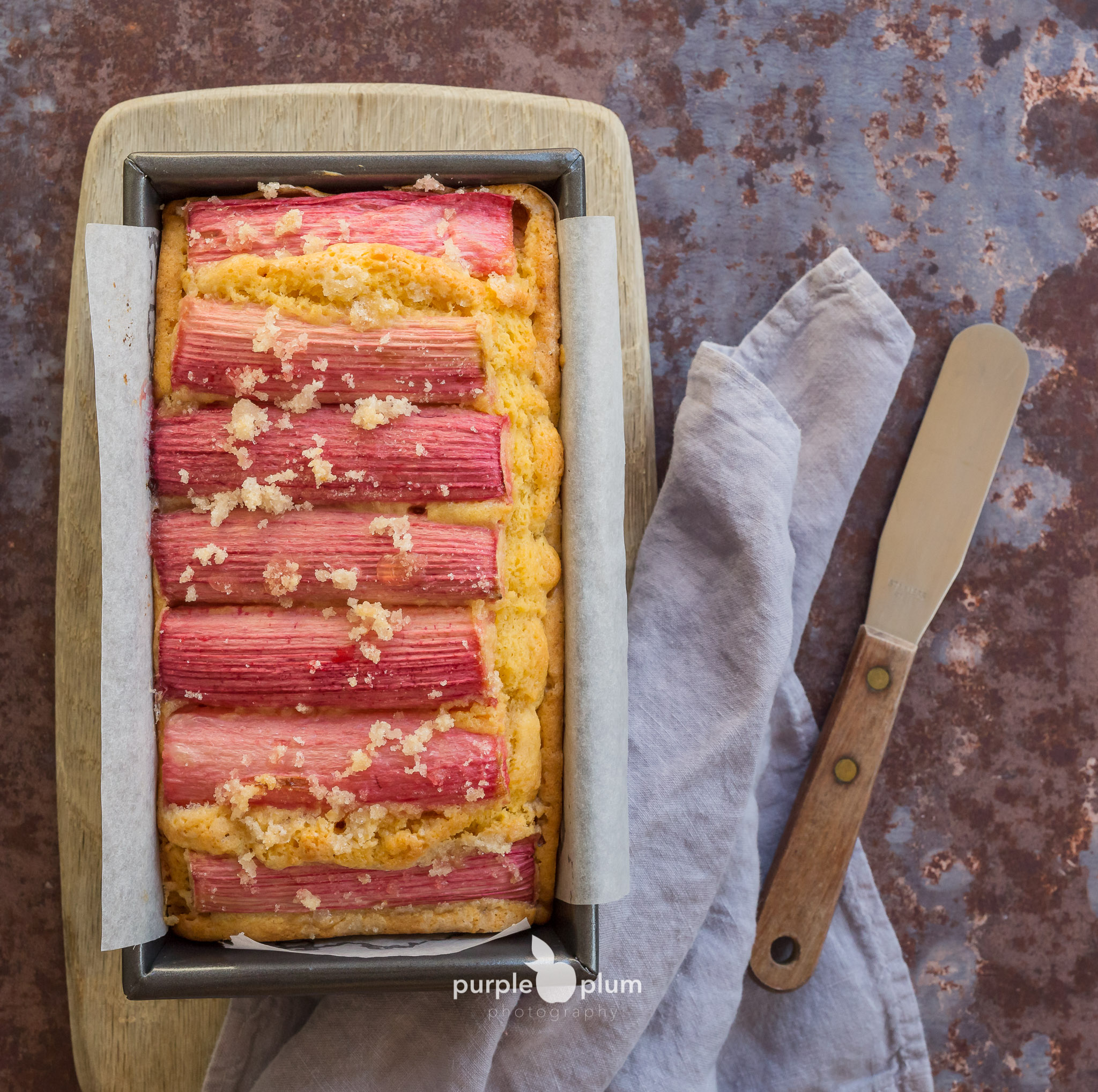 Rhubarb and Cardamom Custard Cake - fresh out of the oven