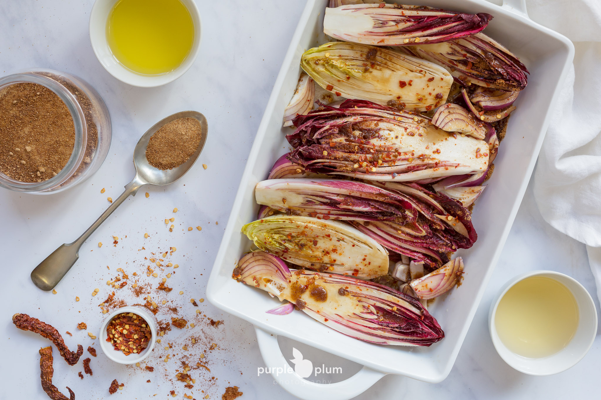 Baked Chicory with Caramelized Onions and Chilli