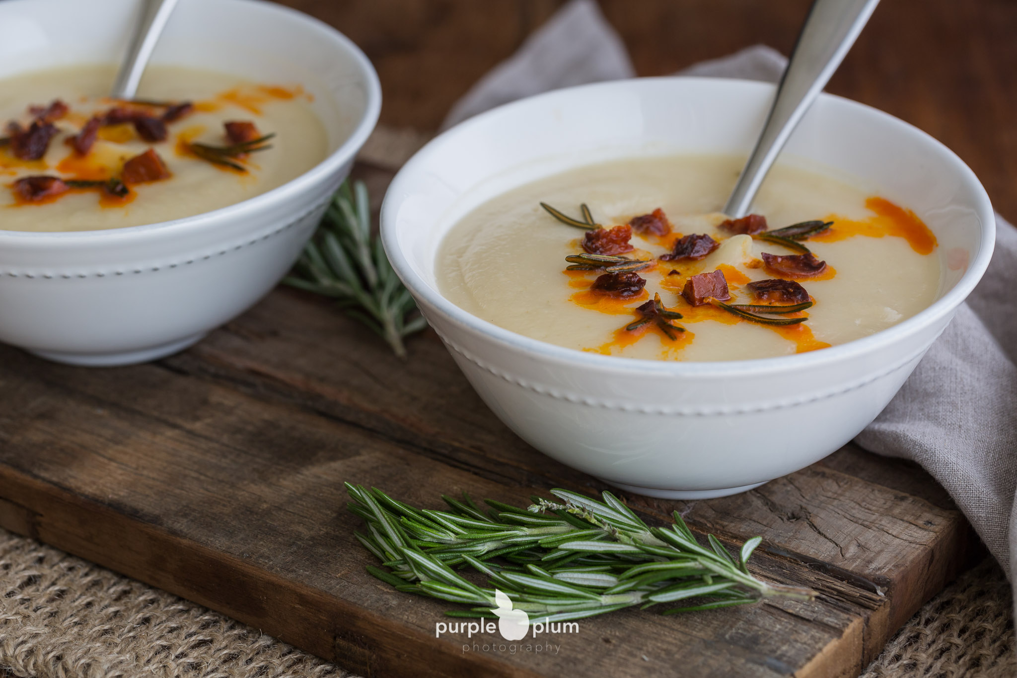 Celeriac Soup with Chorizo & Rosemary