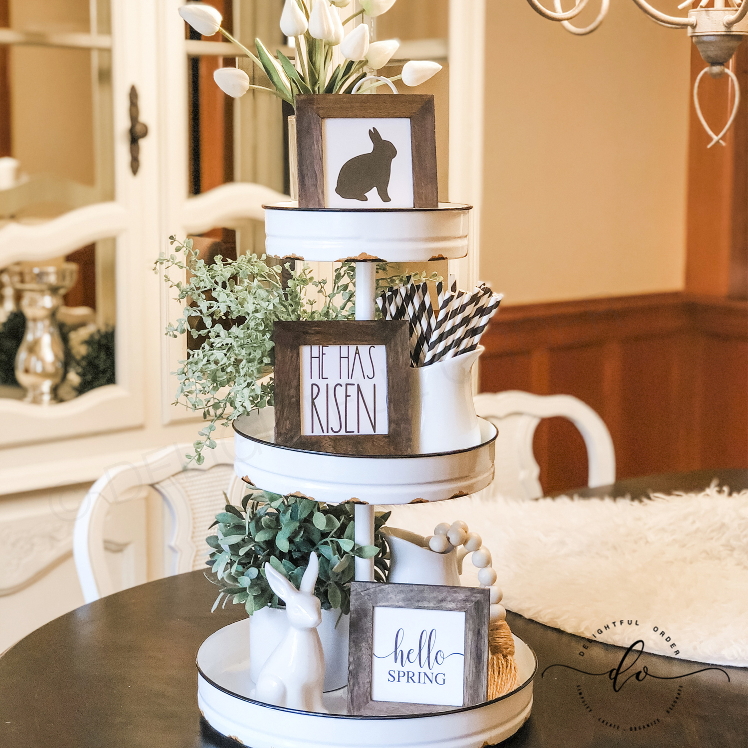 Tiered Tray Spring Decor