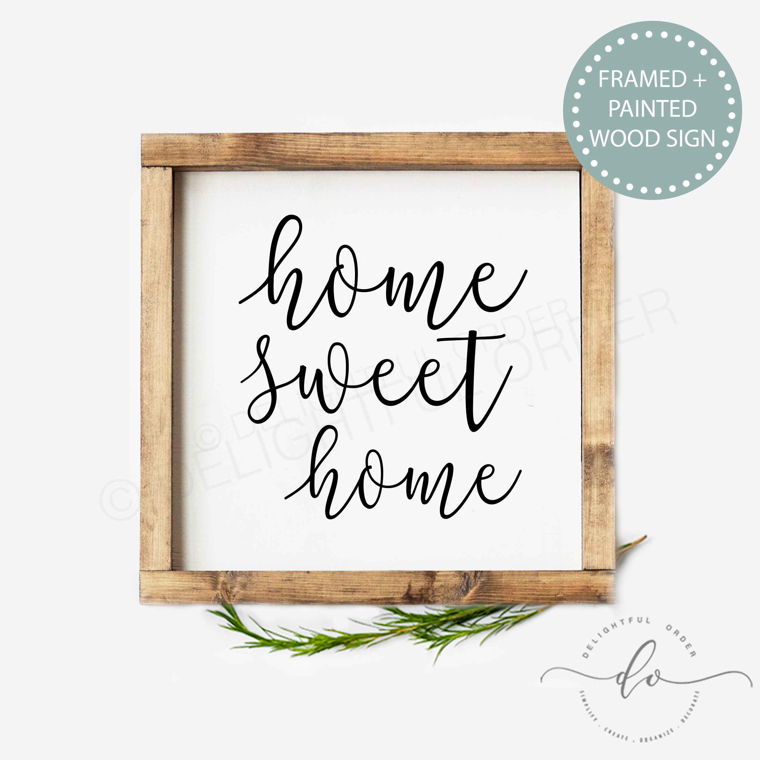 Home Sweet Tiered Tray Sign Burlap Print Canvas Pillow Or Wood Delightful Order