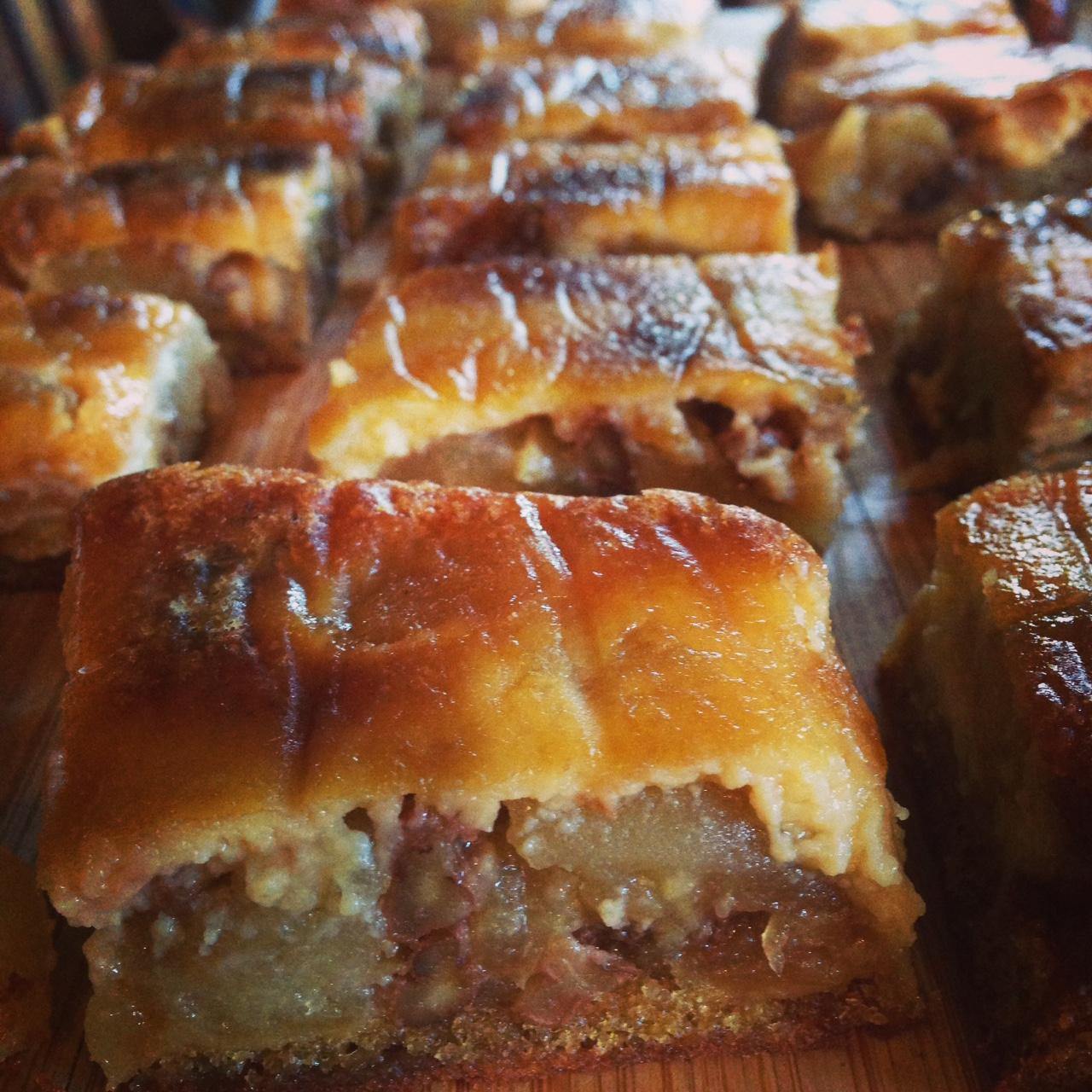 Apple, Pecan and Custard cake
