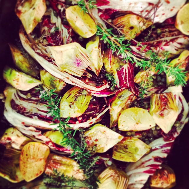 Roasted artichokes and radicchio with rosemary, capers and balsamic vinegar