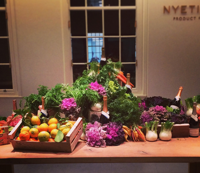 Our display of Natoora ingredients at Nyetimber HQ