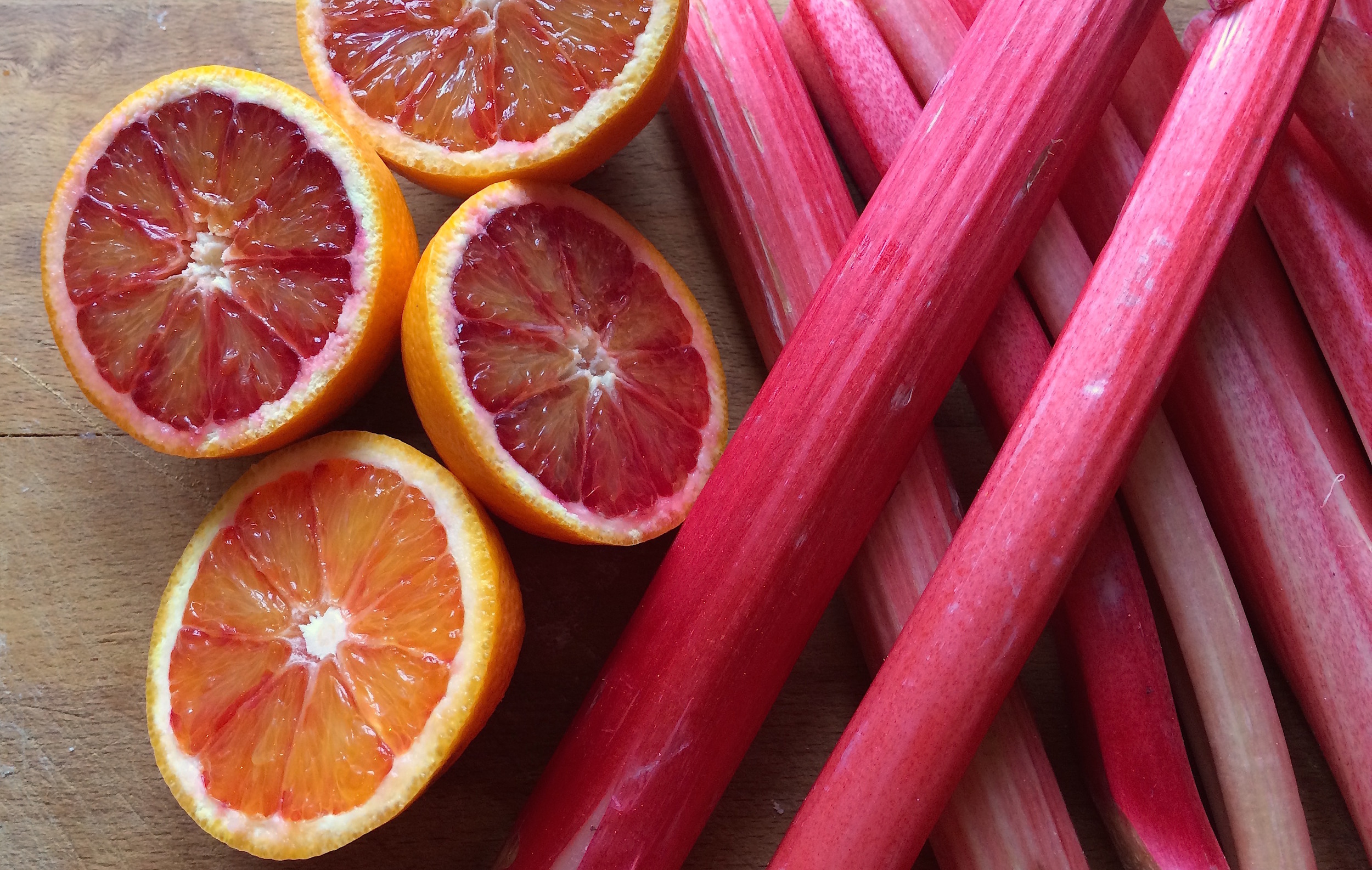 rhubarbs and bood oranges