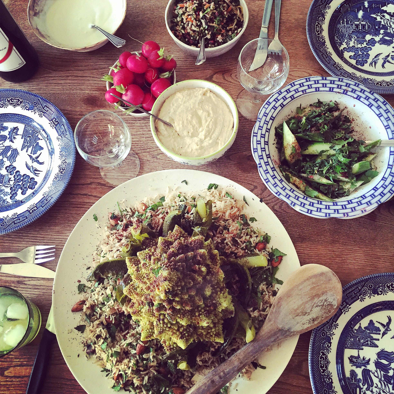 Roasted romanesco, seven spice pilaf and seasoned yoghurt