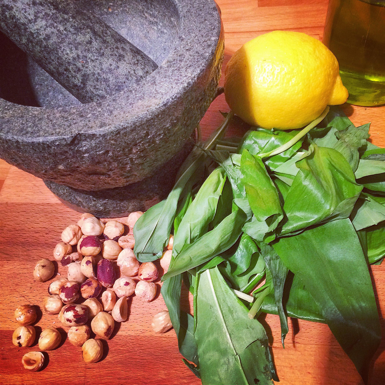 Wild garlic and roasted hazelnut pesto
