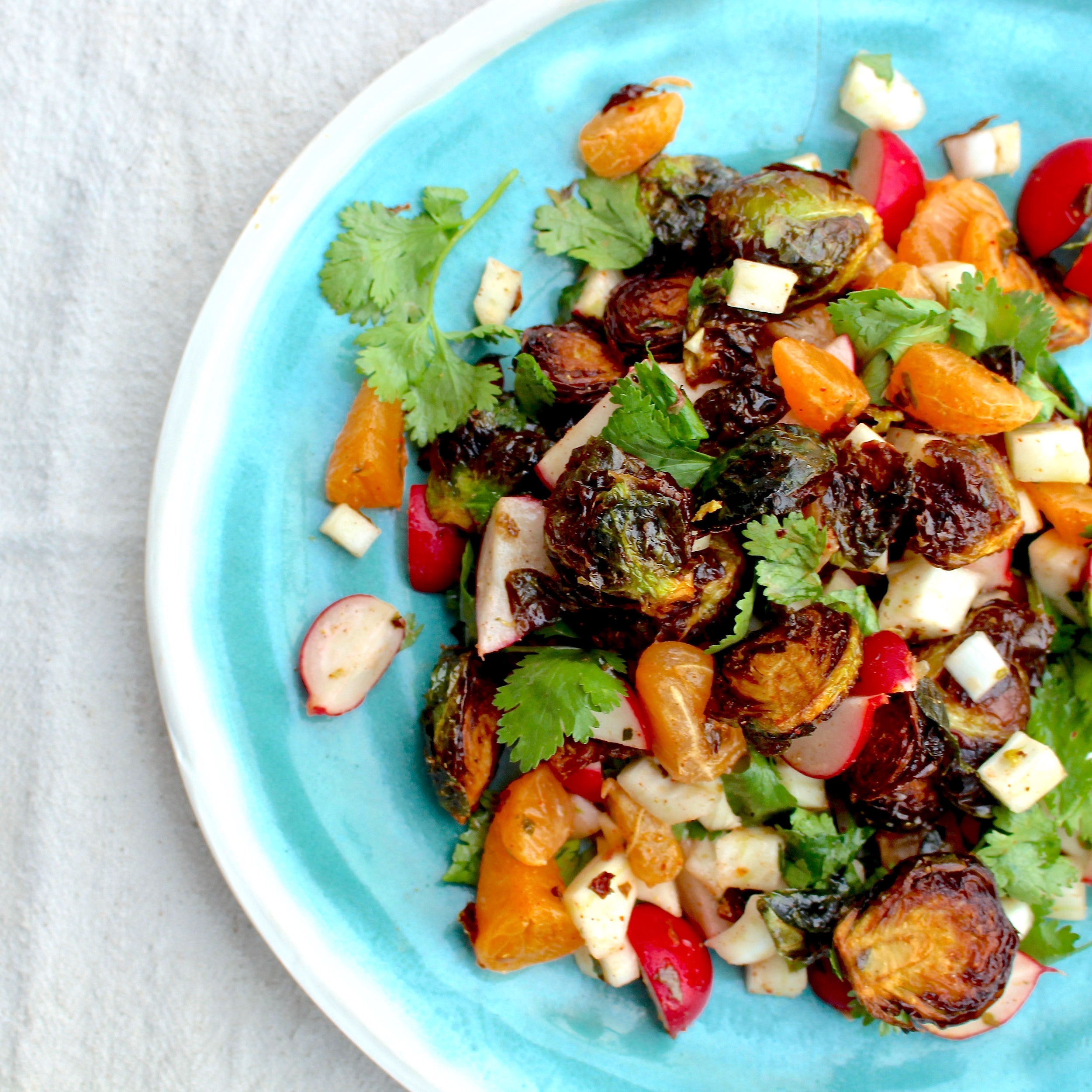 Deep-fried Brussels sprouts chaat masala salad