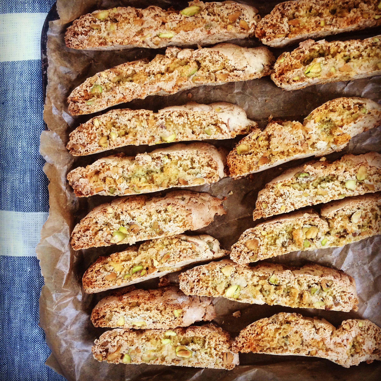 Pistachio, fennel & lemon zest biscotti