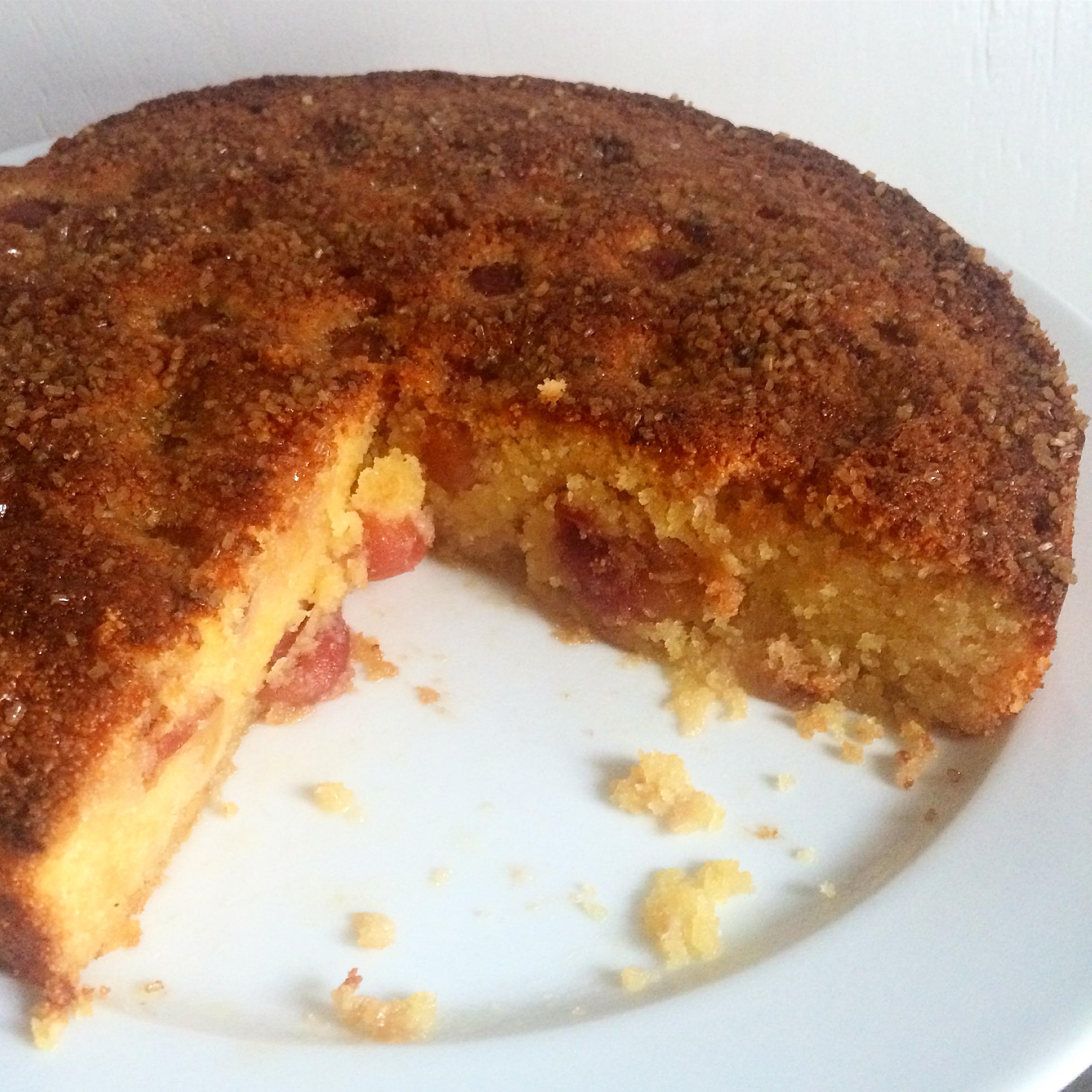 Cherry & almond polenta cake