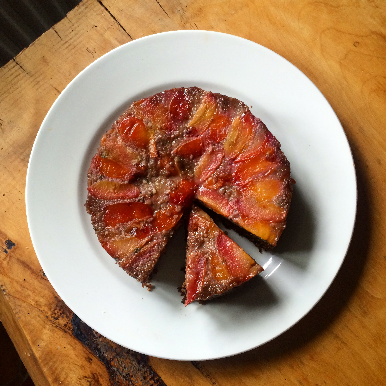 Plum, walnut, olive oil & rye upside-down cake