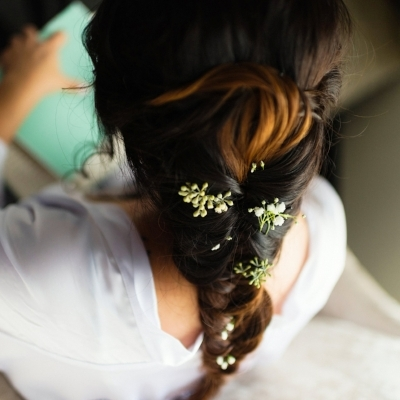 Beautiful braided bridal hairstyle by Meghana Prasad