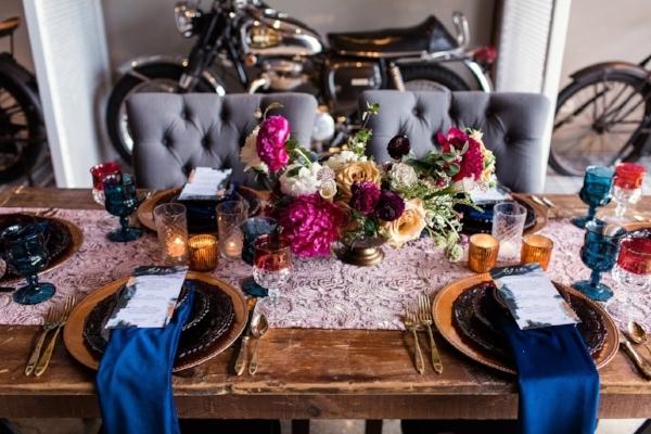Unique multicolored wedding table setting