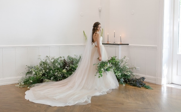 Romantic bride photograph surrounded by flowers
