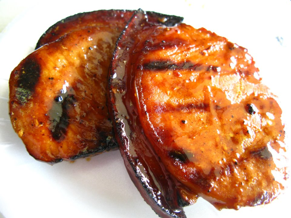 Grilled marinated pork chops