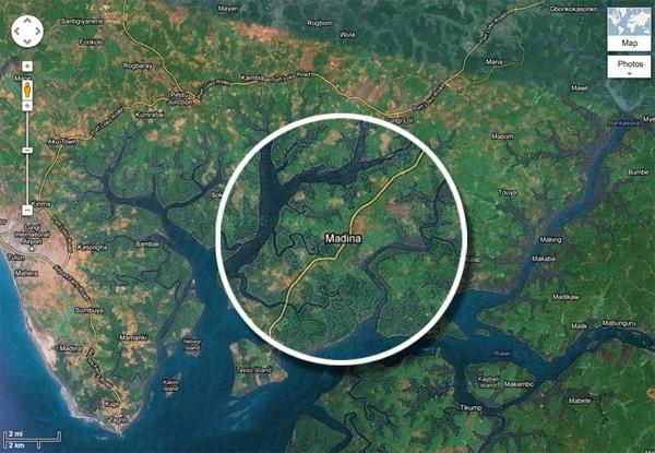 Map of Madina in Makeni, Sierra Leone
