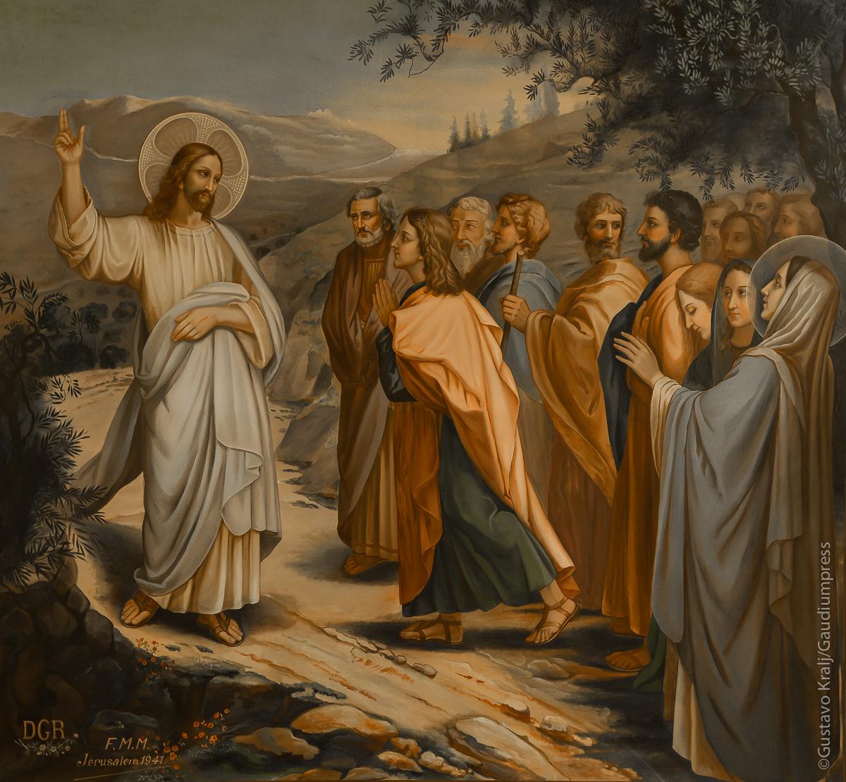 Jesus envía a los apóstoles. Pintura, s XX. Bethania, Tierra Santa Foto: Gustavo Kralj/Gaudiumpressimages.com