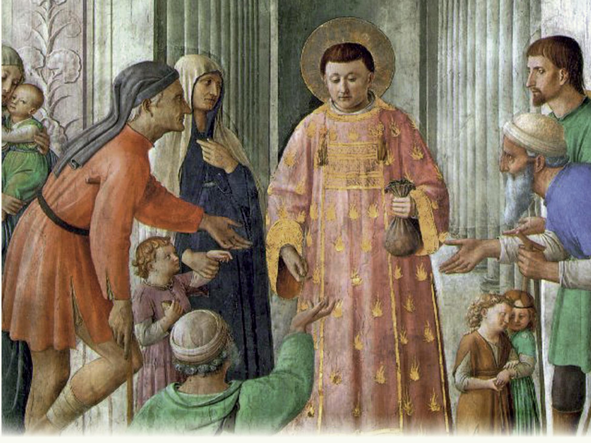 San Lorenzo distribuyendo limosna a los pobres, por Fra Angélico - Capilla Nicolina, Ciudad del Vaticano. Foto: Reproducción