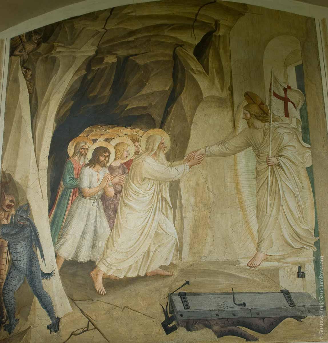 Jesus liberta a los Justos del Limbo. Fresco por Fra Angelico, Firenze. Foto: Gustavo Kralj/GaudiumpressImages.com
