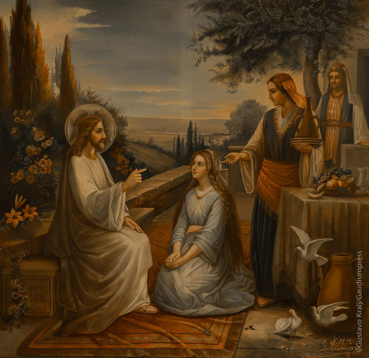 Jesús en Betania con Martha y Maria. Convento de las Hnas de San Vicente, Batania, Israel. Foto: Gustavo Kralj/GaudiumpressImages.com