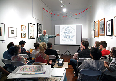 An artist talk given by veteran printmaker, Doug Minkler at FFDG