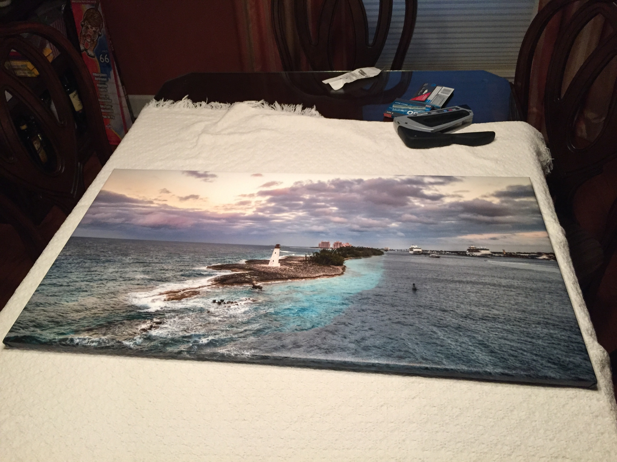Occasionally our kitchen table gets re-provisioned for the purpose of building out canvas prints. Very often for silent auctions / fundraisers.