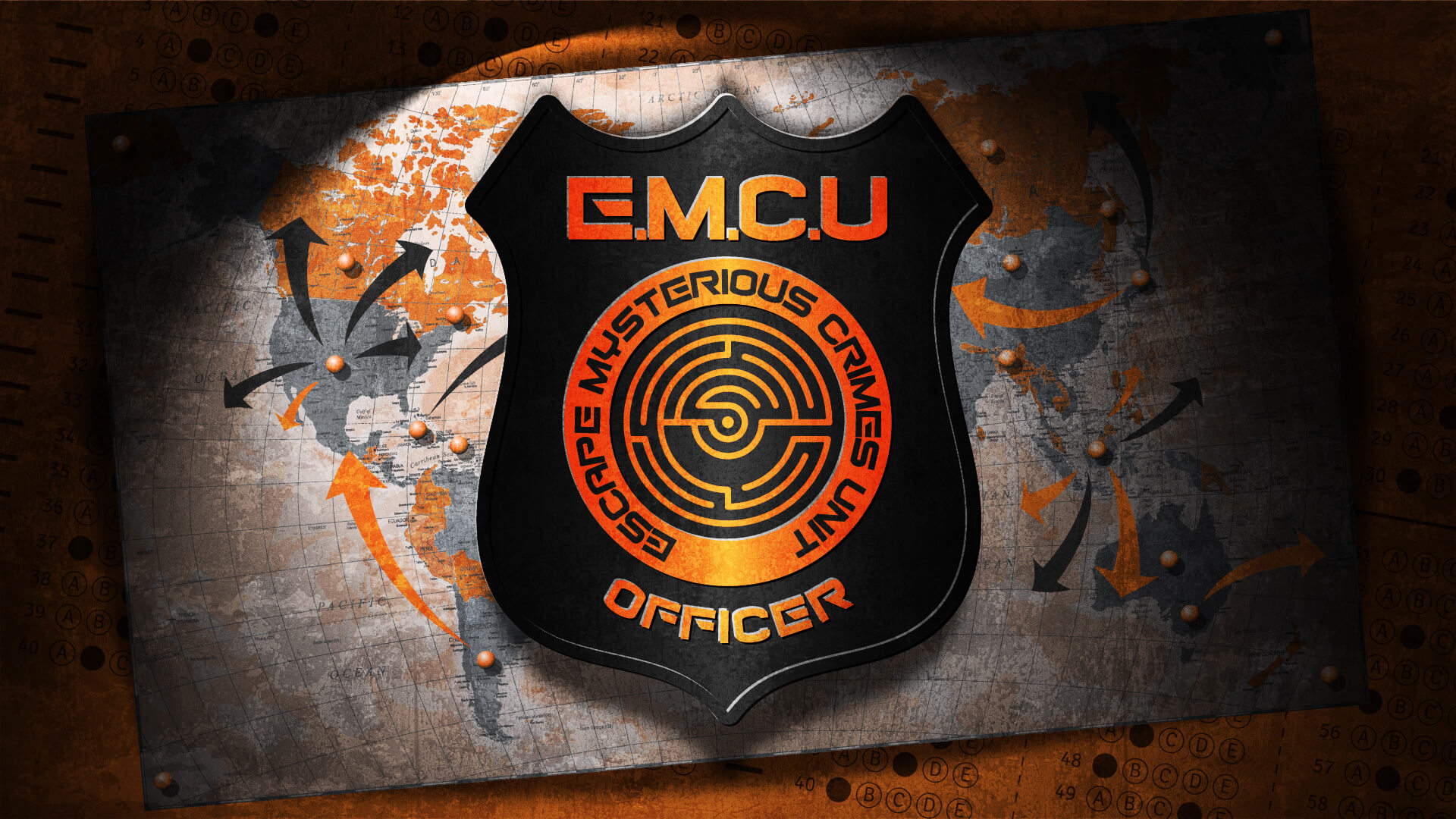 E.M.C.U. - The Escape Mysterious Crimes Unit are recruiting and they need you. Having worked through your training you now only have the test to complete. A simple sit down multiple choice test should be easy. Surely that isn't all that is involved!