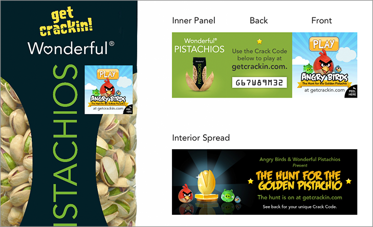 """Each bag of Wonderful Pistachios was labeled with a special custom """"Crack Code"""" that allowed fans to play the new custom game online."""