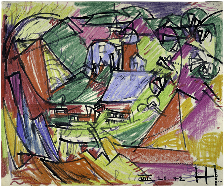 "Untitled , July 20, 1942 Crayon and ink on paper 14 x 17 in. (35.6 x 43.2 cm) Solomon R. Guggenheim Museum, New York (92.4043)   Photography courtesy of the Solomon R. Guggenheim Foundation, New York        Normal   0             false   false   false     EN-US   X-NONE   X-NONE                                                                                                                                                                                                                                                                                                                                                                           /* Style Definitions */  table.MsoNormalTable 	{mso-style-name:""Table Normal""; 	mso-tstyle-rowband-size:0; 	mso-tstyle-colband-size:0; 	mso-style-noshow:yes; 	mso-style-priority:99; 	mso-style-parent:""""; 	mso-padding-alt:0in 5.4pt 0in 5.4pt; 	mso-para-margin:0in; 	mso-para-margin-bottom:.0001pt; 	mso-pagination:widow-orphan; 	font-size:11.0pt; 	font-family:""Calibri"",""sans-serif""; 	mso-ascii-font-family:Calibri; 	mso-ascii-theme-font:minor-latin; 	mso-hansi-font-family:Calibri; 	mso-hansi-theme-font:minor-latin;}"