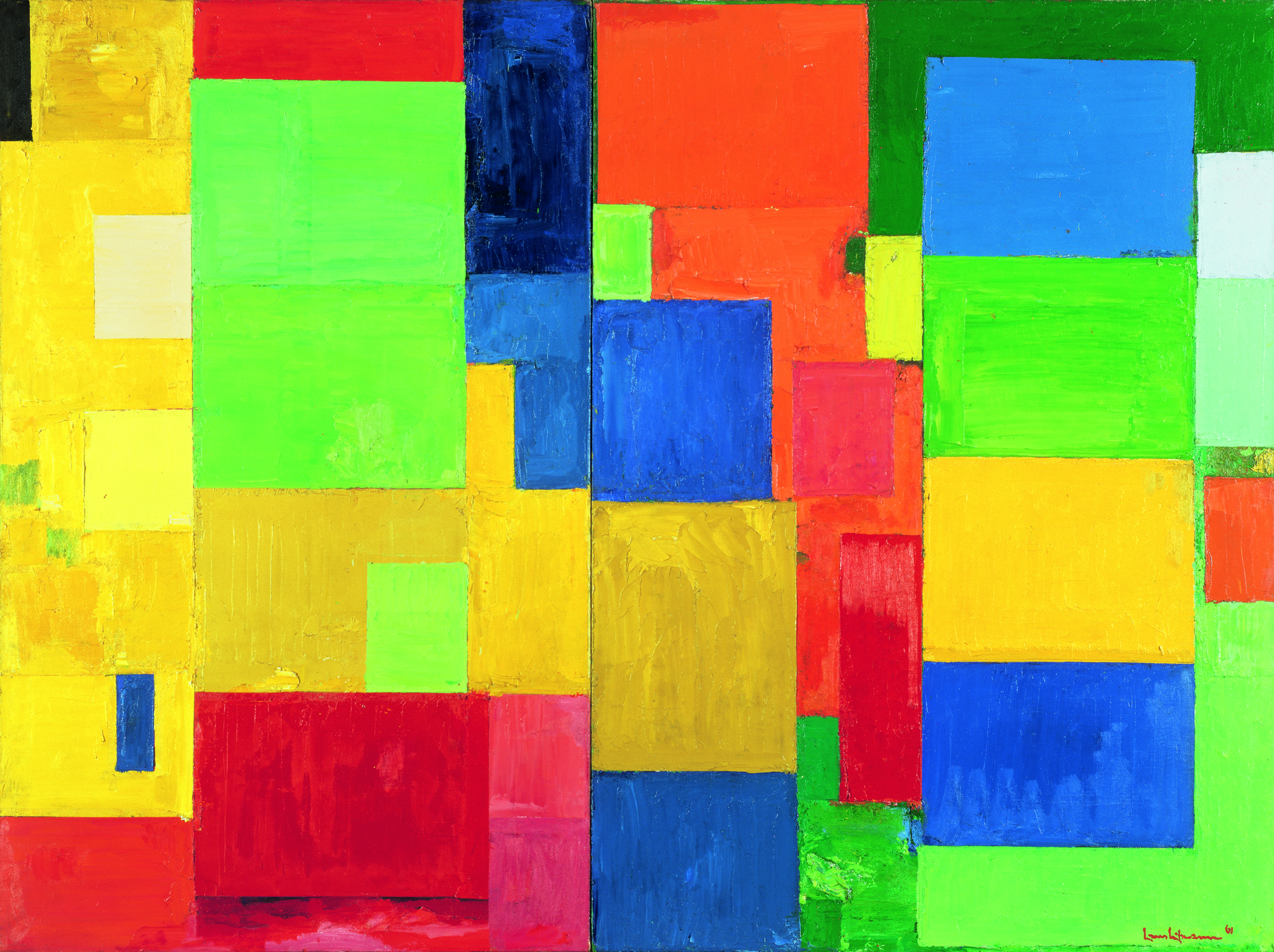 "Combinable Wall I and II , 1961 Oil on canvas 84 1/2 x 112 1/2 in. (214.6 x 285.8 cm) University of California, Berkeley Art Museum & Pacific Film Archive. Gift of the artist (1963.10) The Trustees of the Renate, Hans and Maria Hofmann Trust thank the Regents of the University of California for the use of this image        Normal   0             false   false   false     EN-US   X-NONE   X-NONE                                                                                                                                                                                                                                                                                                                                                                           /* Style Definitions */  table.MsoNormalTable 	{mso-style-name:""Table Normal""; 	mso-tstyle-rowband-size:0; 	mso-tstyle-colband-size:0; 	mso-style-noshow:yes; 	mso-style-priority:99; 	mso-style-parent:""""; 	mso-padding-alt:0in 5.4pt 0in 5.4pt; 	mso-para-margin:0in; 	mso-para-margin-bottom:.0001pt; 	mso-pagination:widow-orphan; 	font-size:11.0pt; 	font-family:""Calibri"",""sans-serif""; 	mso-ascii-font-family:Calibri; 	mso-ascii-theme-font:minor-latin; 	mso-hansi-font-family:Calibri; 	mso-hansi-theme-font:minor-latin;}"