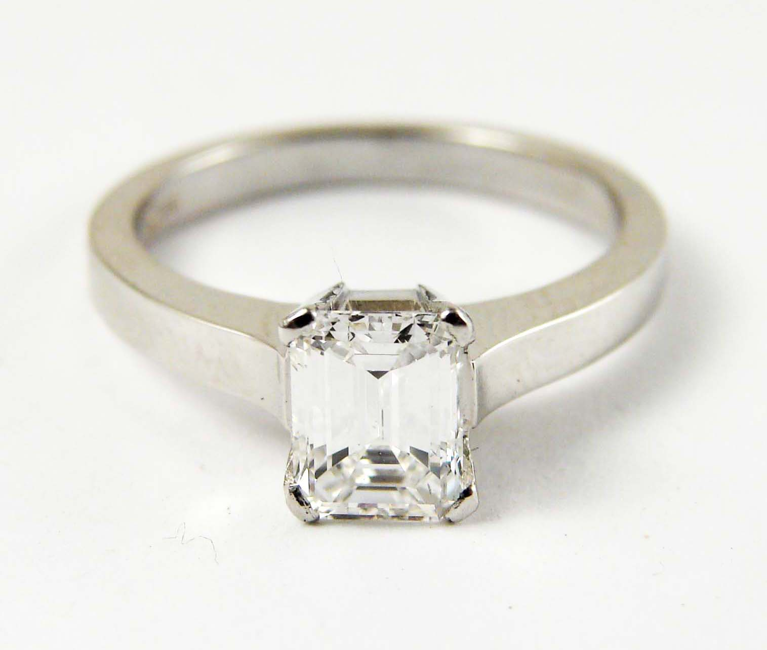 1.25ct emerald cut diamond centerstone, 18kt white gold, a modern twist to a classic look  Starting at $9500 for this stone size andVS clarity FG colour  Can be customizable with any stone, size, metal etc.