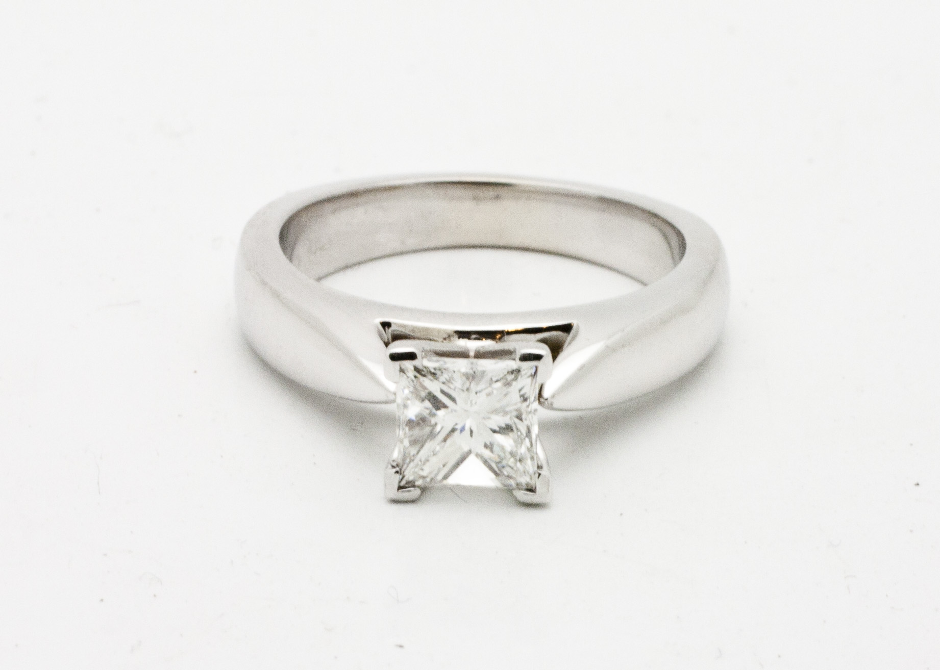 1.00ct princes cut diamond solitaire set in 18kt white gold.  Starting at $6200 for this size stone andVS-2 clarity G colour  Can be customizable with any stone, size, metal etc.