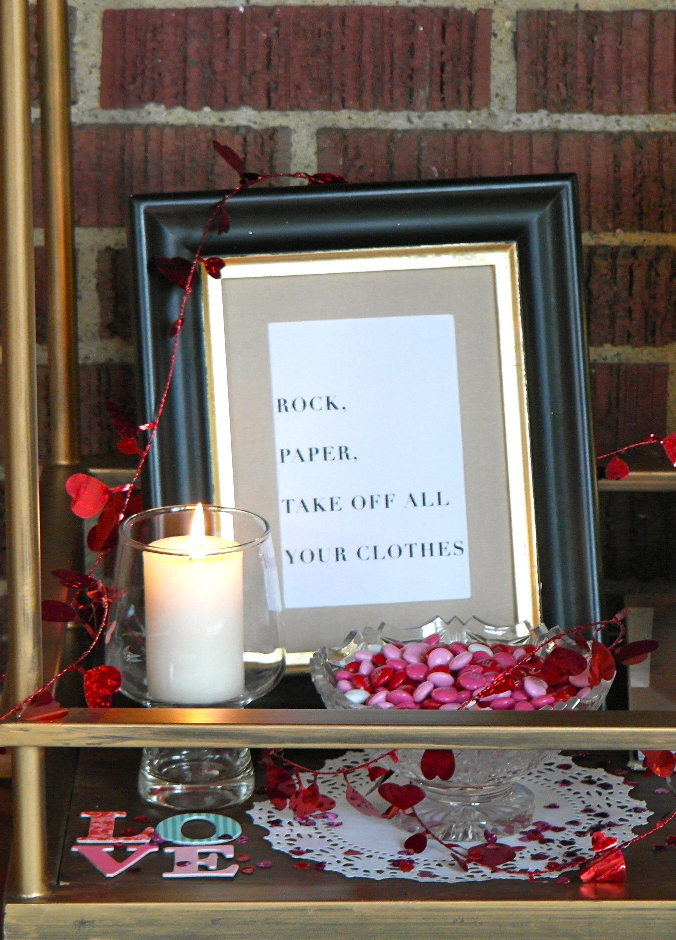 Rock Paper Print and Candle
