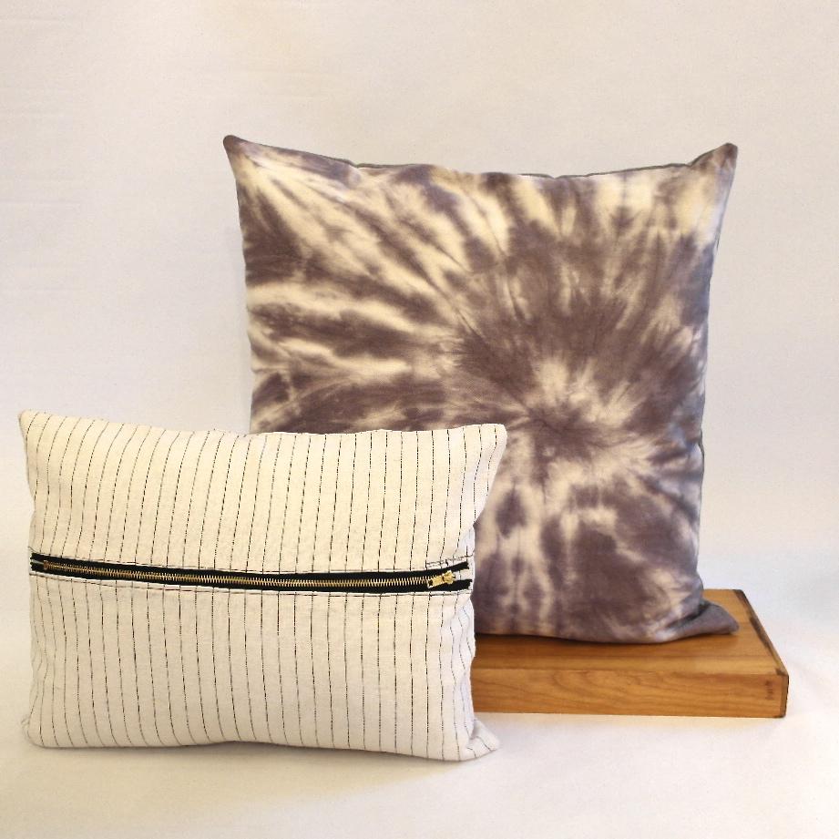 Purple tie dye and white striped pillow