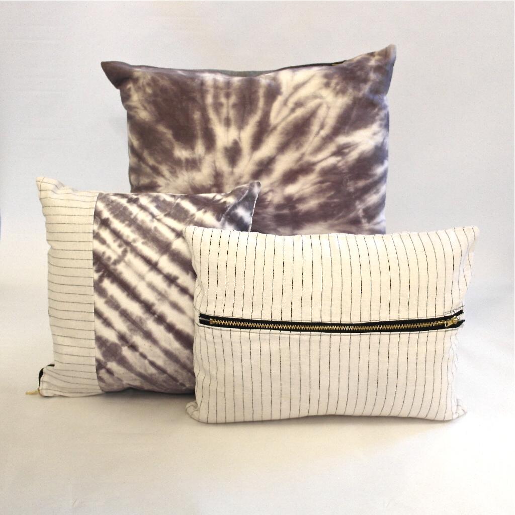 Purple pillow pile