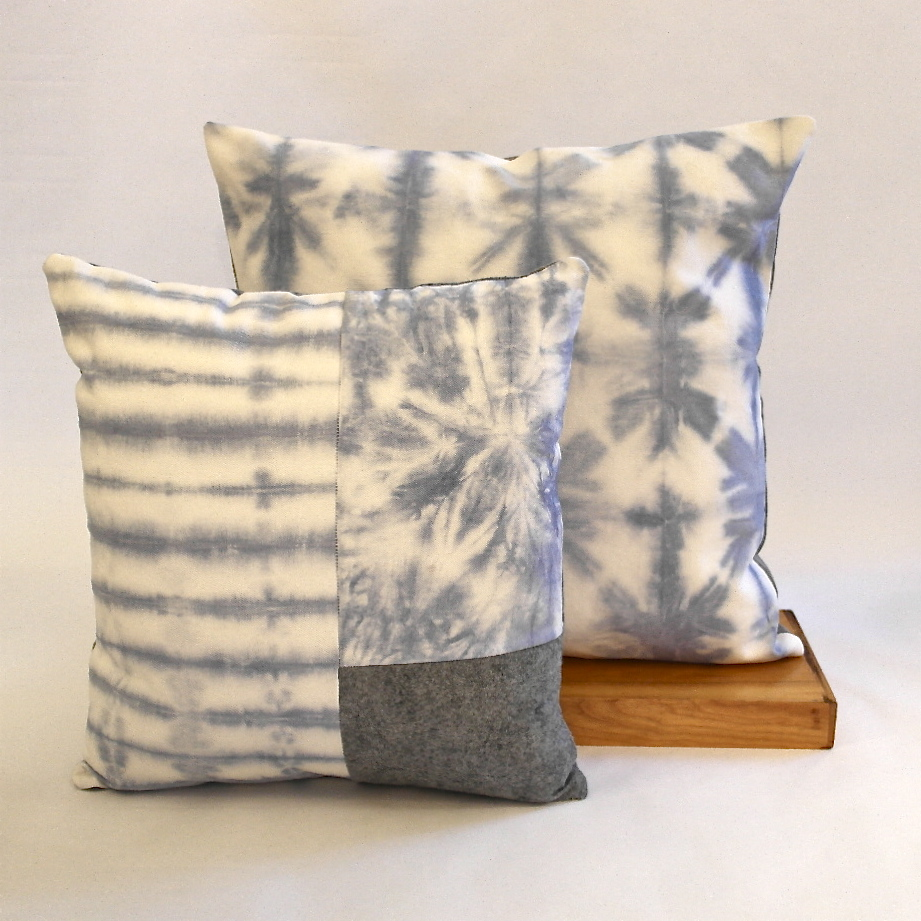 Blue tie dye & patch pillow