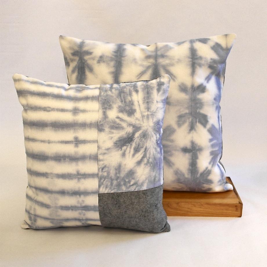Blue tie dye & patch pillow