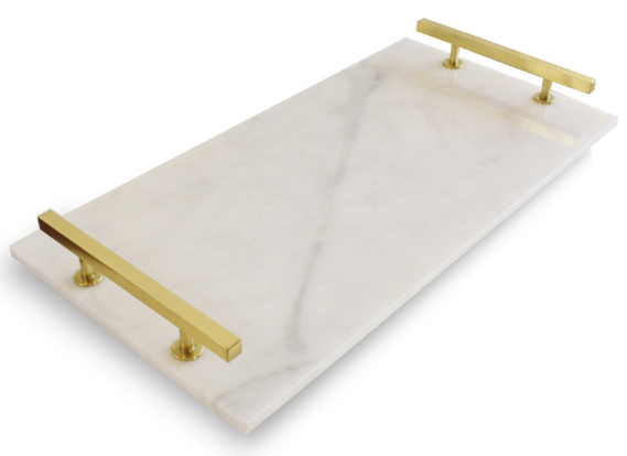 Modern Carrara Marble Serving Tray, Brass