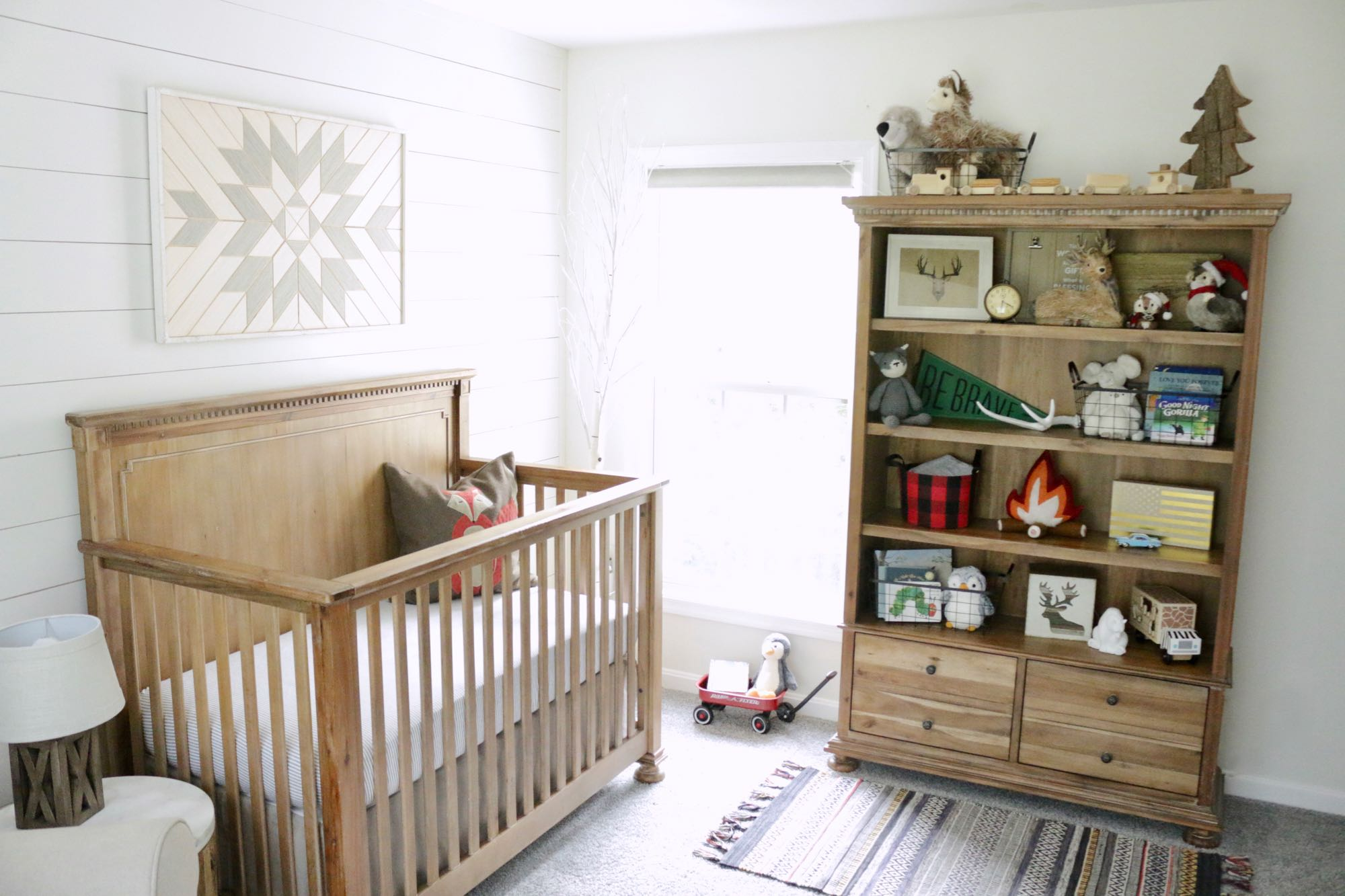 Adventure Nursery Crib & Bookcase